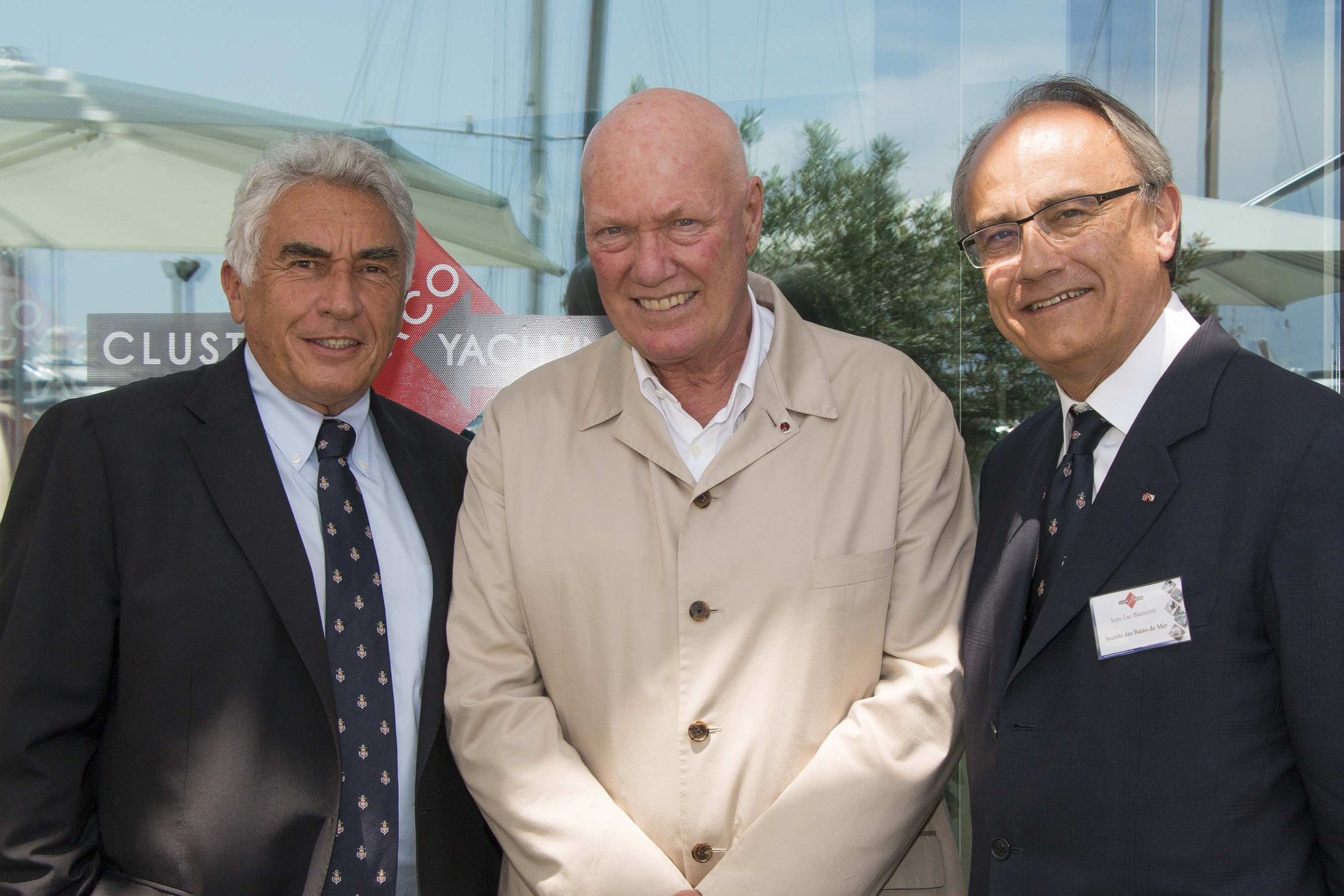 Bernard d'Alessandri, President of the Cluster and YCM General Secretary, Jean-Claude Biver, President of LVMH Watches Division and CEO of TAG Heuer, and Jean-Luc Biamonti, Société des Bains de Mer CEO - ©Charly Gallo
