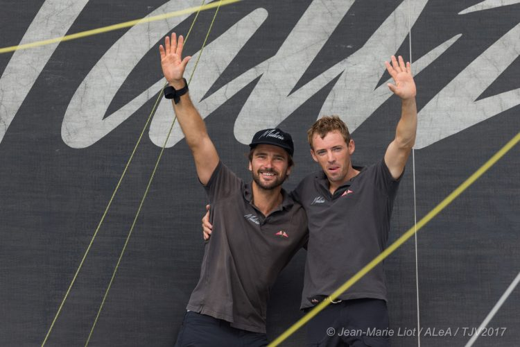 Celebration 4th place in Imoca category for Malizia II, skippers Boris Herrmann and Thomas Ruyant, during arrivals of the duo sailing race Transat Jacques Vabre 2017 from Le Havre (FRA) to Salvador de Bahia (BRA), on November 20th, 2017 - Photo Jean-Marie Liot / ALeA / TJV17